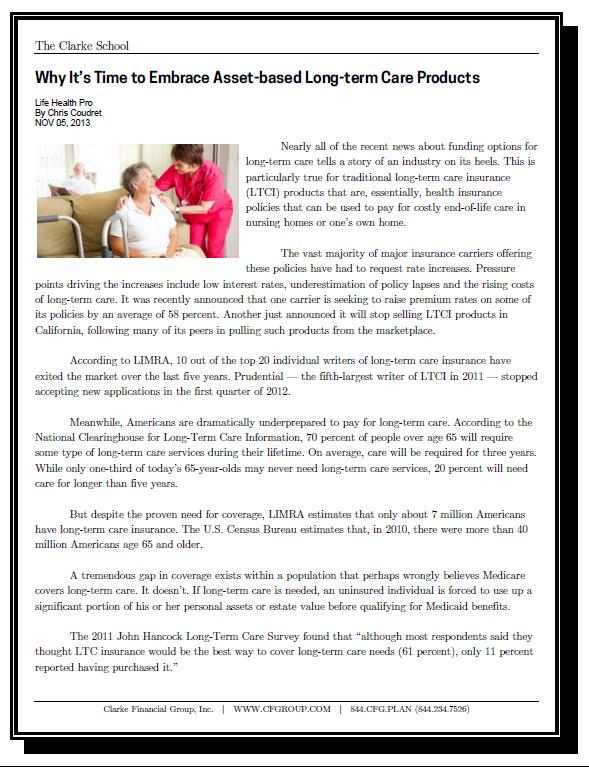 ClarkeH6_TheClarkeSchool_IndNews_Embrace_Asset_Based_LTC_Products _20131105